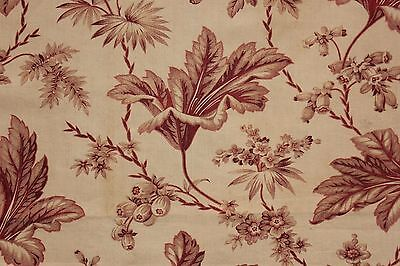 Floral Fabric Antique French madder brown printed cotton design c 1860 material