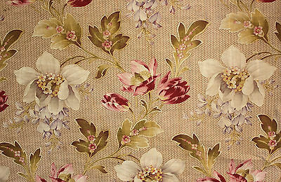 Floral Fabric Large Scale Wisteria Indienne Floral Cotton Antique French c1900