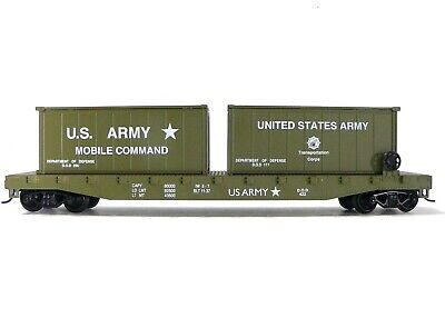 HO Scale Model Railroad Trains Layout US Army Flat Car with Containers Military