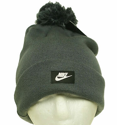 63640839 Nike Adult Unisex Removable Pom Pom Beanie Hat Charcoal Gray One Size