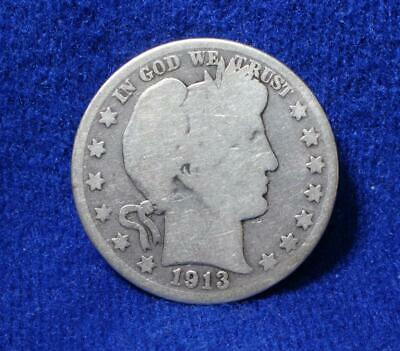 **BETTER DATE** 1913-D BARBER 50c HALF DOLLAR SILVER COIN