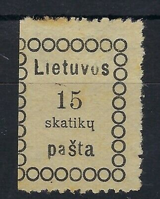 Lithuania 1918 First Vilnius 15s black unused with inverted h letter