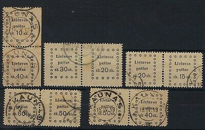 Lithuania 1919 Third Kaunas accumulation of 5 value combination pairs used