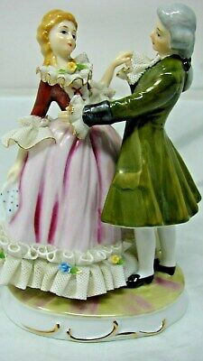 Early Vintage Victorian Couple Lace Figurine