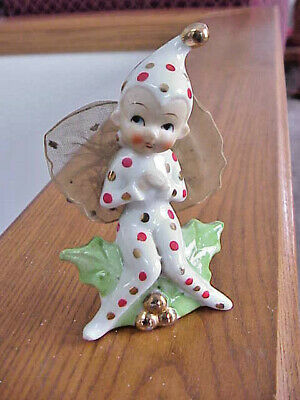 Vtg Japan Elf Pixie With Polka Dots & Netted Wings