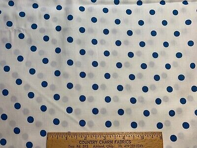 Vintage Cotton Fabric 40s CUTE Blue & White Polka Dot 35w 1yd