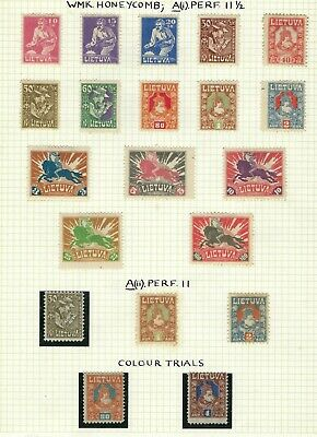 Lithuania 1921-22 postage and airmail values mint and used