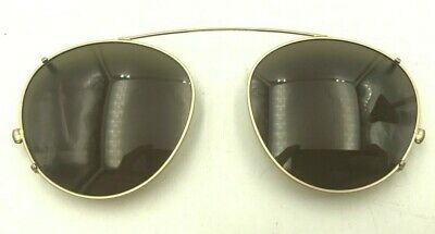 85a5d818fe Vintage Luxottica 400ag Gold Plated Metal Round Clips Clip-on Sunglasses  Italy