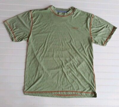 Orvis Trout Bum Mens M Tee Shirt Light Green with Orange Stitching Style # 1R46