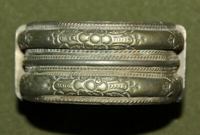 Antique Greek cuff silver plated floral bracelet