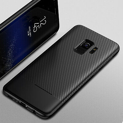 For Samsung S9 Plus Note 9 Ultra Slim Carbon Fiber Shockproof Rubber Case Cover