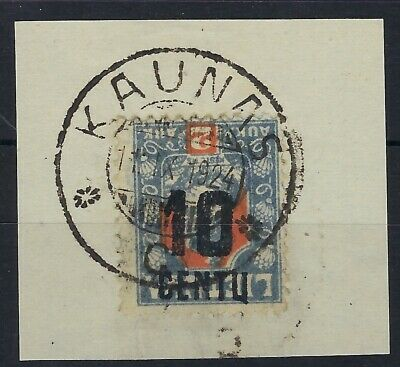 Lithuania 1922 surcharge 10c on 2a inverted used on piece