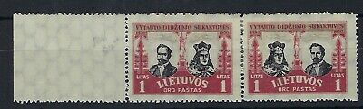 Lithuania 1930 500th Anniv 1a transposed 'heads' pair hinged mint