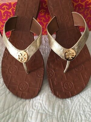 bdc9aab88bf4 TORY BURCH THORA Flip Flop Thong Spark Gold Leather Gold Size 7 New