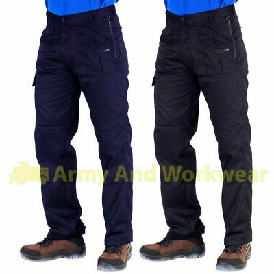 Mens All Action Work Trousers Combat/Zip/Knee Pad Pockets Builders Cargo Pants