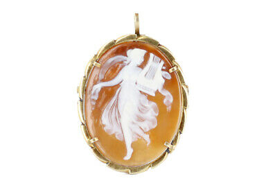 Antique Sterling Gold Vermeil Three Graces Goddess Carved Cameo Brooch Pendant