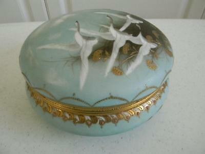 Large Antique Hand Painted Birds Limoges Vanity Dresser Box~Heavy Gold Trim~NR