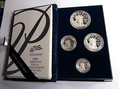 1.85 Oz 4 Coin Set 2006-W Platinum American Eagle .9995 Proof Coins Paper Box