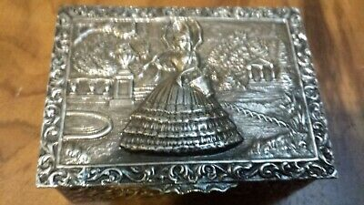 115g STERLING SILVER ELEGANT virtu BOX WITH LADY gallant BUCOLIC SCENE COMPO
