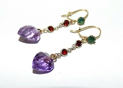 Antique Edwardian Amethyst Drop Earrings Garnet Emerald Suffragette Arts Crafts