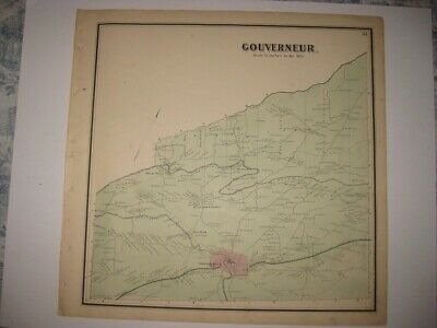 Antique 1865 Gouverneur Nat Dam St Lawrence County New York Handcolored Map Rare