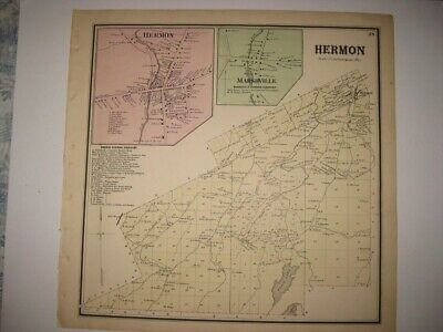 Superb Antique 1865 Hermon Marshville St Lawrence County New York Handcolor Map