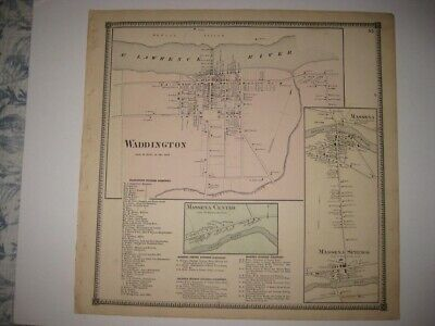 Antique 1865 Waddington Massena St Lawrence County New York Handcolored Map Rare