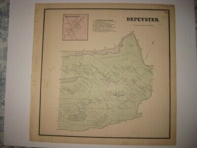 Vintage Antique 1865 Depeyster St Lawrence County New York Handcolored Map Rare