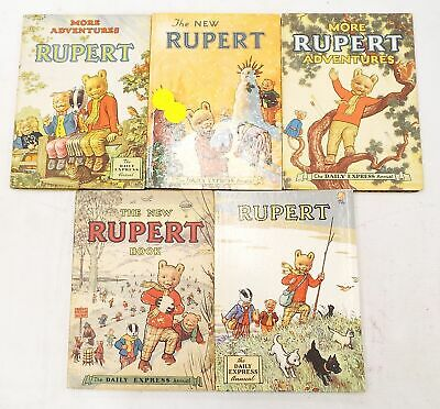 5 x RUPERT Annuals 1951 - 1955 Hardback Books THE DAILY EXPRESS ANNUAL - R30