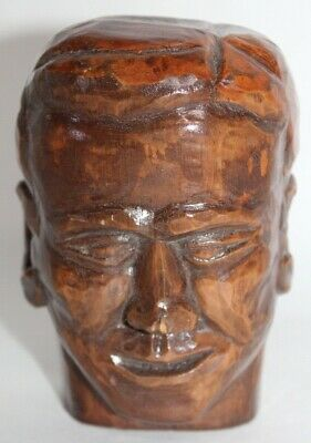 HAND CARVED Wooden Smiling Head WALL HANGING Folk Art
