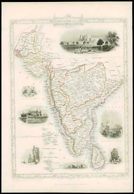 1850 - Original Illustrated Antique Map SOUTHERN INDIA & CEYLON by Tallis (d127)