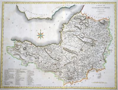 1789 Original Large Antique Map - SOMERSET by John Cary hand coloured (LM14)