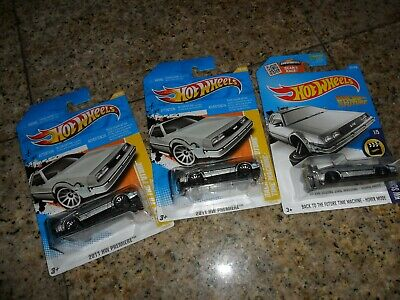 3 LOT HOT WHEELS 1981 DeLorean Back To The Future Time Machine 2011 & HOVER MODE