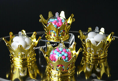 5PC GOLD CROWN FILLABLE PARTY FAVORS PRINCESS PRINCE BABY SHOWER TABLE DECOR UK