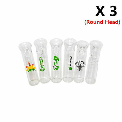 3 X Hand Made Glass Cigarette Filter mouthtips Feel Tip with logo(Round Top)