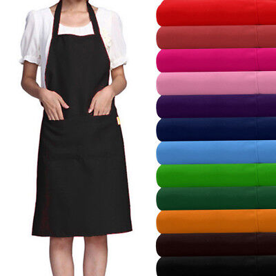 Plain Apron With Front Pocket For Chefs Butchers Kitchen Cooking Craft Baking UK