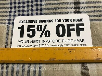 ONE 1x Home Depot 15% off IN STORE ONLY 03 / 04 / 2019