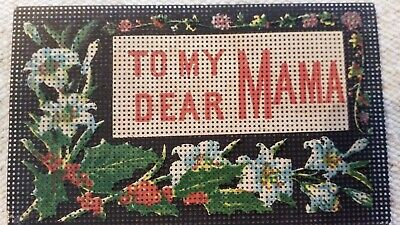 """Antique Paperpunch Bookmark """"To My Dear Mama"""" unfinished pattern"""