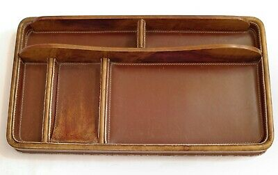 Vtg DUNHILL ITALY Bakelite Catalan Wood Grained & LEATHER DESK CADDY ORGANIZER