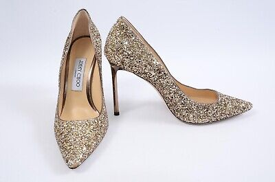 Jimmy Choo Romy antique gold 8 38 course glitter slip on pointy pump shoe $625