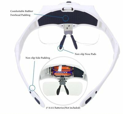 Lightweight Magnifier Head Light 2 LED Adjustable Magnifying Glass with 5 Lens H