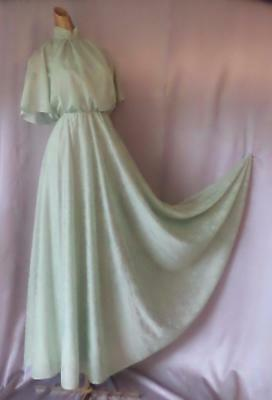 ROMANTIC BOHO CAPED 1970s Vintage PASTEL FLORAL MAXI DRESS GOWN - SM / XS