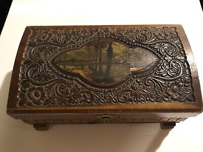 Vintage Old  Wooden Jewelry Or Trinket Box With Mirror  ( Non Working Music Box)