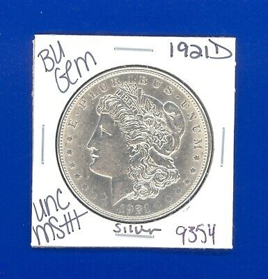 1921 D Bu Gem Morgan Silver Dollar Unc Ms++ Genuine U.s. Mint Rare Coin 9354
