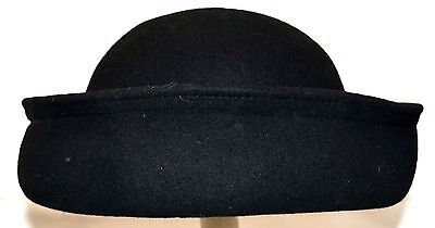 bfd8de915af Platania Italian Black Wool Womens Hat with Upturned Brim   Rounded Dome  Size M