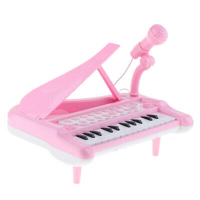 Kids Electronic Keyboard Mini Piano Stool Microphone Musical Toy Gift Pink