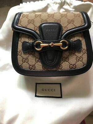 9edfac38660 Authentic Gucci Lady Web GG Signature With Black Leather Trim Cross Body Bag