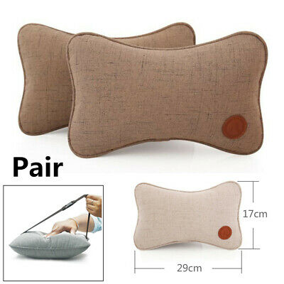 Pair Brown Synthetic Fiber Breathable Car Seat Neck Pillows Headrest Car Styling