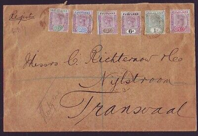 ZULULAND 1897 REGISTERED COVER FROM ESHOWE with 1894 1/2d to 1/-