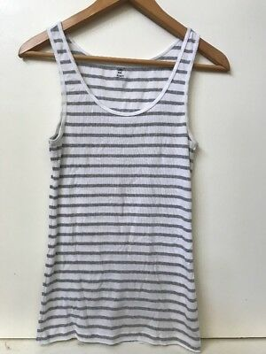 2ee3786884ebfd GAP womens stretch ribbed tank top white w  Gray stripes size Medium M